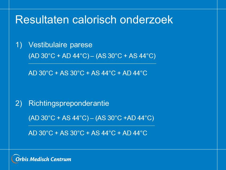Resultaten calorisch onderzoek 1)Vestibulaire parese (AD 30°C + AD 44°C) – (AS 30°C + AS 44°C) _______________________________________________________