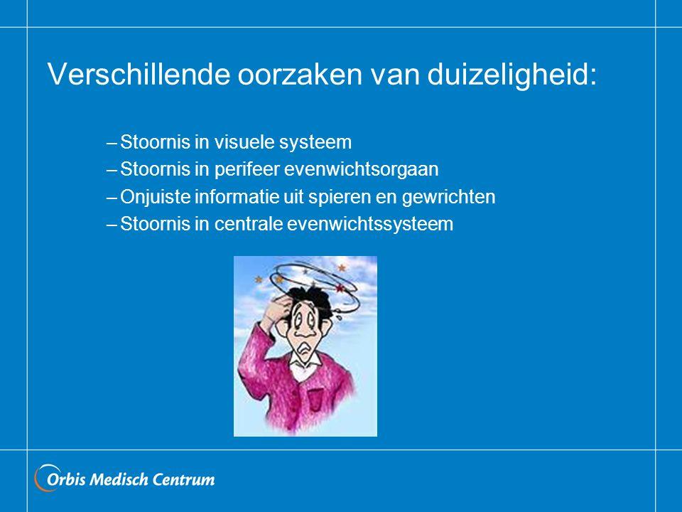 Verschillende oorzaken van duizeligheid: –Stoornis in visuele systeem –Stoornis in perifeer evenwichtsorgaan –Onjuiste informatie uit spieren en gewri