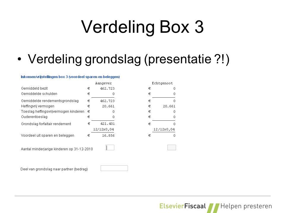 Verdeling Box 3 Verdeling grondslag (presentatie !)