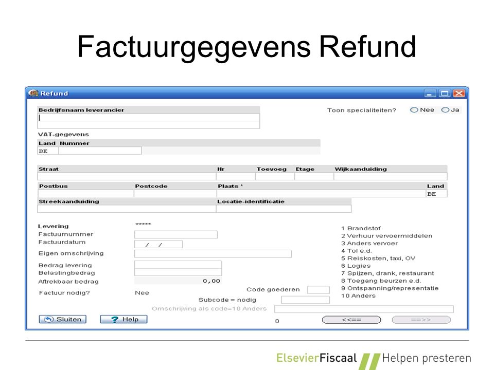 Factuurgegevens Refund