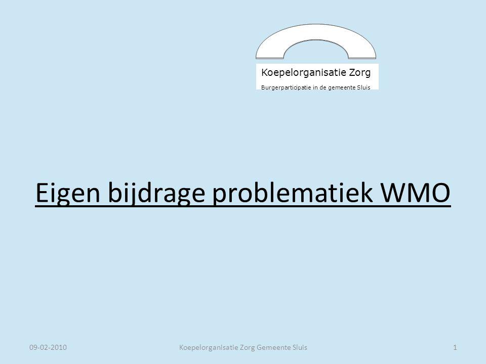 Koepelorganisatie Zorg Burgerparticipatie in de gemeente Sluis Eigen bijdrage problematiek WMO 09-02-2010Koepelorganisatie Zorg Gemeente Sluis1