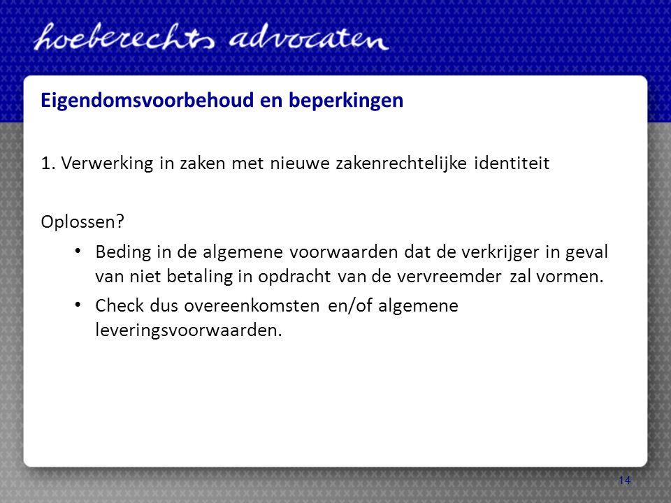 Eigendomsvoorbehoud en beperkingen 1.