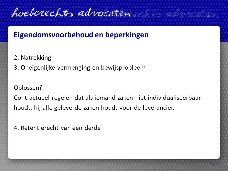 Eigendomsvoorbehoud en beperkingen 2. Natrekking 3.