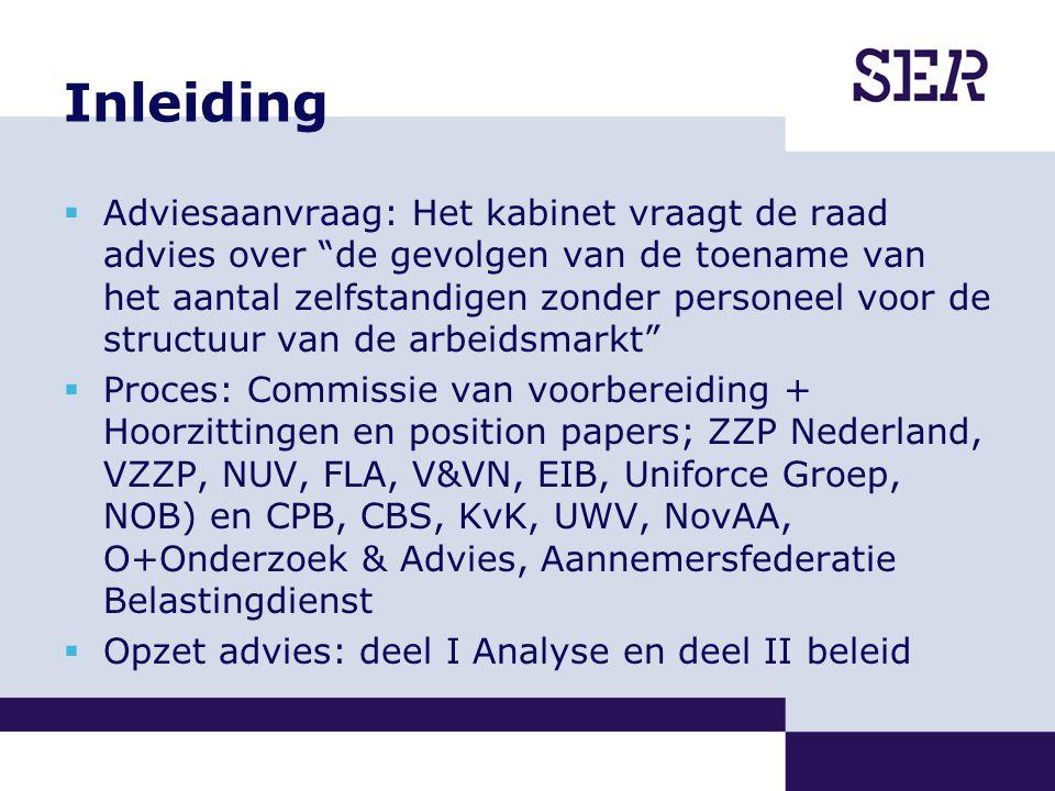 Inleiding  Adviesaanvraag: Het kabinet vraagt de raad advies over de gevolgen van de toename van het aantal zelfstandigen zonder personeel voor de structuur van de arbeidsmarkt  Proces: Commissie van voorbereiding + Hoorzittingen en position papers; ZZP Nederland, VZZP, NUV, FLA, V&VN, EIB, Uniforce Groep, NOB) en CPB, CBS, KvK, UWV, NovAA, O+Onderzoek & Advies, Aannemersfederatie Belastingdienst  Opzet advies: deel I Analyse en deel II beleid