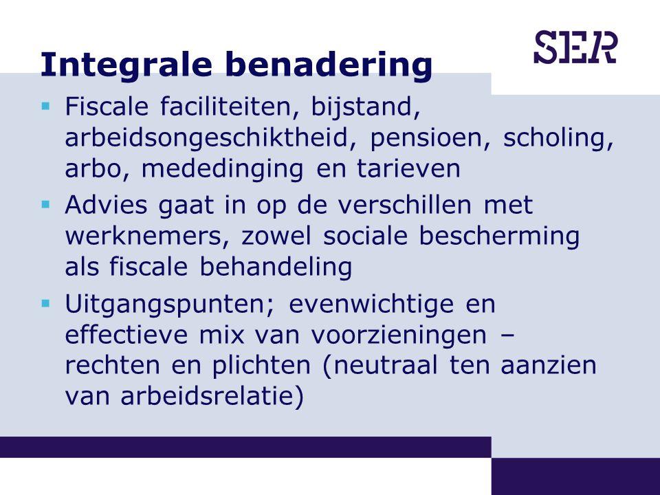 Integrale benadering  Fiscale faciliteiten, bijstand, arbeidsongeschiktheid, pensioen, scholing, arbo, mededinging en tarieven  Advies gaat in op de