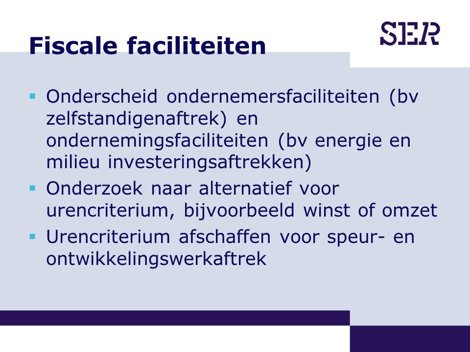 Fiscale faciliteiten  Onderscheid ondernemersfaciliteiten (bv zelfstandigenaftrek) en ondernemingsfaciliteiten (bv energie en milieu investeringsaftrekken)  Onderzoek naar alternatief voor urencriterium, bijvoorbeeld winst of omzet  Urencriterium afschaffen voor speur- en ontwikkelingswerkaftrek