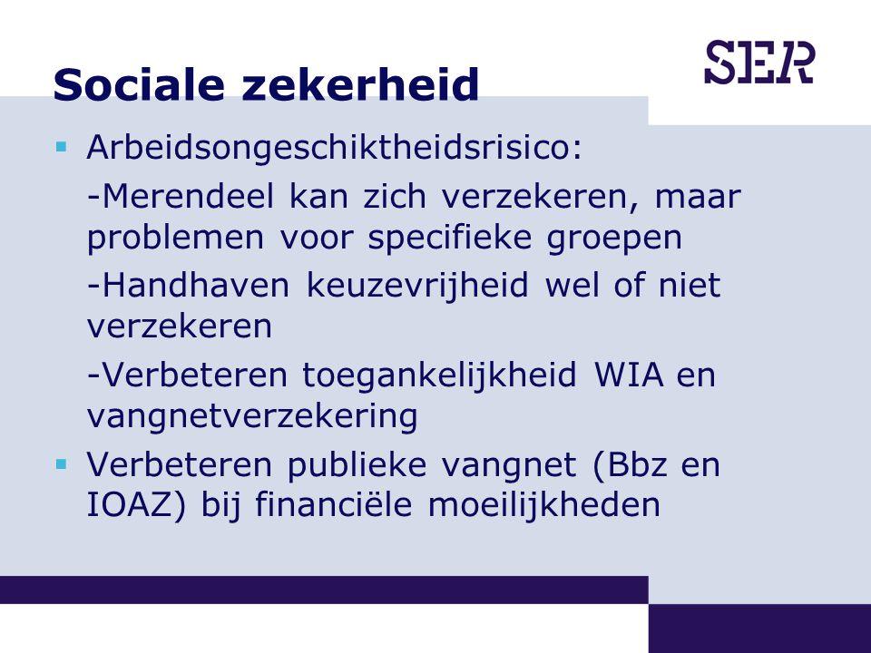 Sociale zekerheid  Arbeidsongeschiktheidsrisico: -Merendeel kan zich verzekeren, maar problemen voor specifieke groepen -Handhaven keuzevrijheid wel of niet verzekeren -Verbeteren toegankelijkheid WIA en vangnetverzekering  Verbeteren publieke vangnet (Bbz en IOAZ) bij financiële moeilijkheden