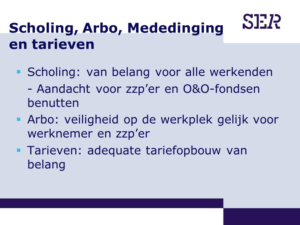 Scholing, Arbo, Mededinging en tarieven  Scholing: van belang voor alle werkenden - Aandacht voor zzp'er en O&O-fondsen benutten  Arbo: veiligheid op de werkplek gelijk voor werknemer en zzp'er  Tarieven: adequate tariefopbouw van belang