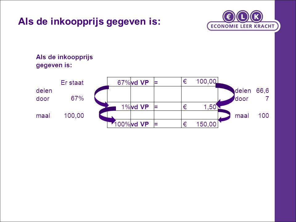 Als de inkoopprijs gegeven is: Er staat67%vd VP= € 100,00 delen door67% delen door 66,6 7 1%vd VP= € 1,50 maal100,00 maal100 100%vd VP= € 150,00 Als de inkoopprijs gegeven is: