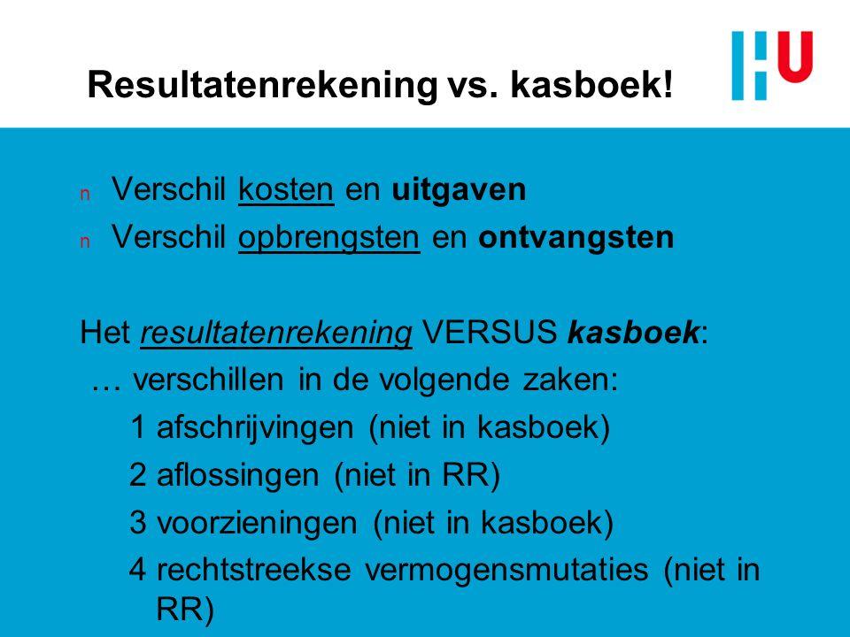 Resultatenrekening vs. kasboek.