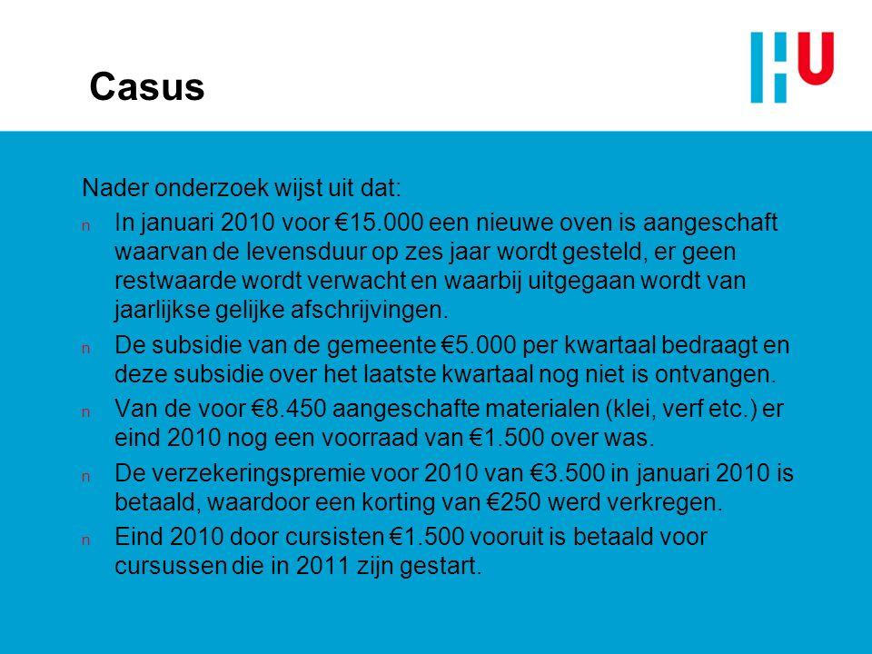 Casus Nader onderzoek wijst uit dat: n In januari 2010 voor €15.000 een nieuwe oven is aangeschaft waarvan de levensduur op zes jaar wordt gesteld, er geen restwaarde wordt verwacht en waarbij uitgegaan wordt van jaarlijkse gelijke afschrijvingen.