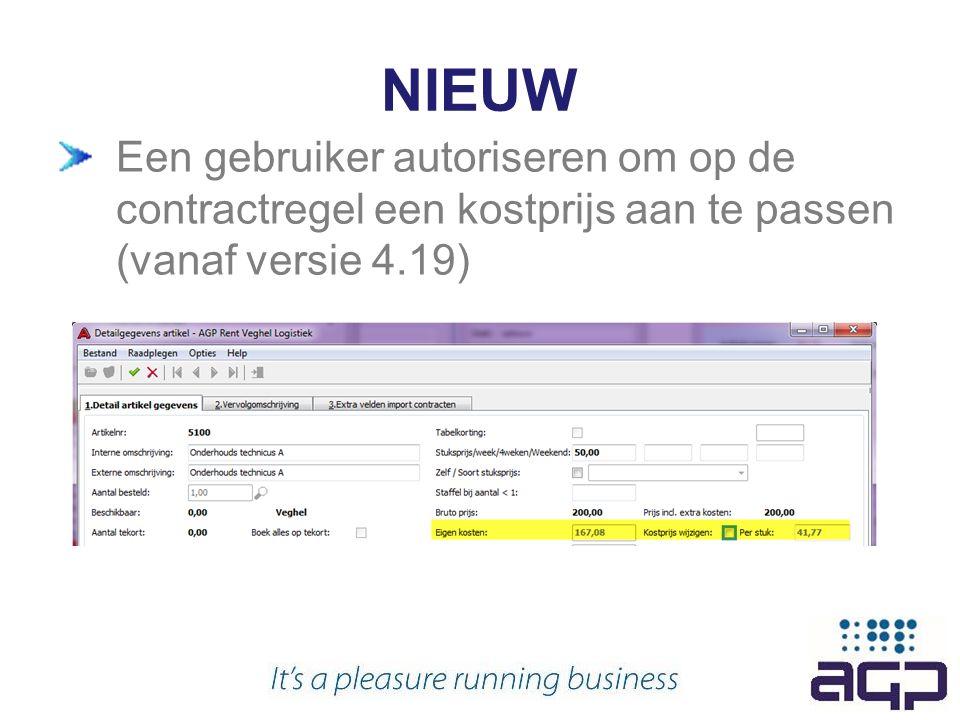 NIEUW Een gebruiker autoriseren om op de contractregel een kostprijs aan te passen (vanaf versie 4.19)
