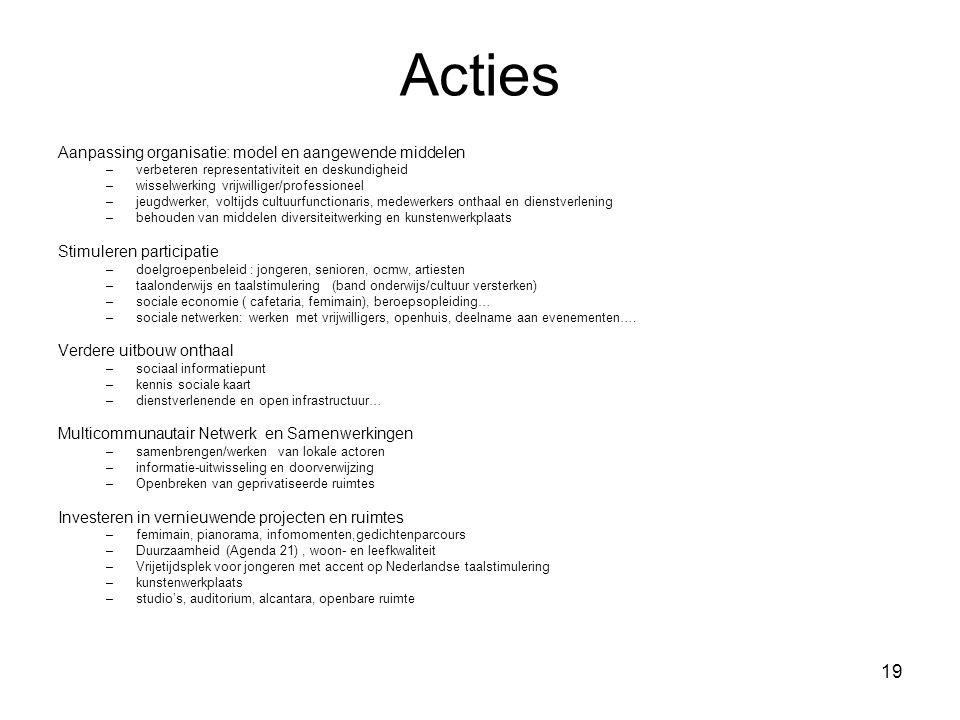 19 Acties Aanpassing organisatie: model en aangewende middelen –verbeteren representativiteit en deskundigheid –wisselwerking vrijwilliger/professione