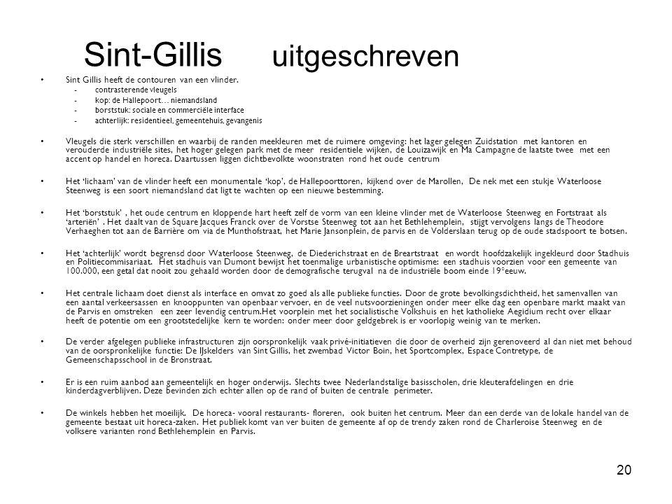 20 Sint Gillis heeft de contouren van een vlinder. - contrasterende vleugels - kop: de Hallepoort… niemandsland - borststuk: sociale en commerciële in