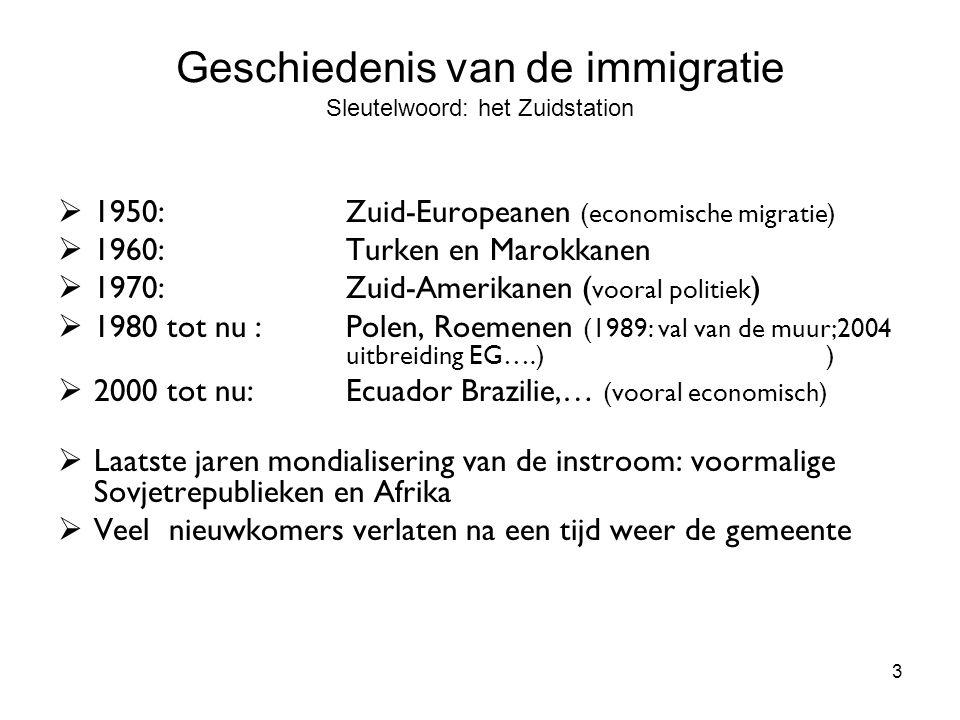 3 Geschiedenis van de immigratie Sleutelwoord: het Zuidstation  1950: Zuid-Europeanen (economische migratie)  1960: Turken en Marokkanen  1970: Zui