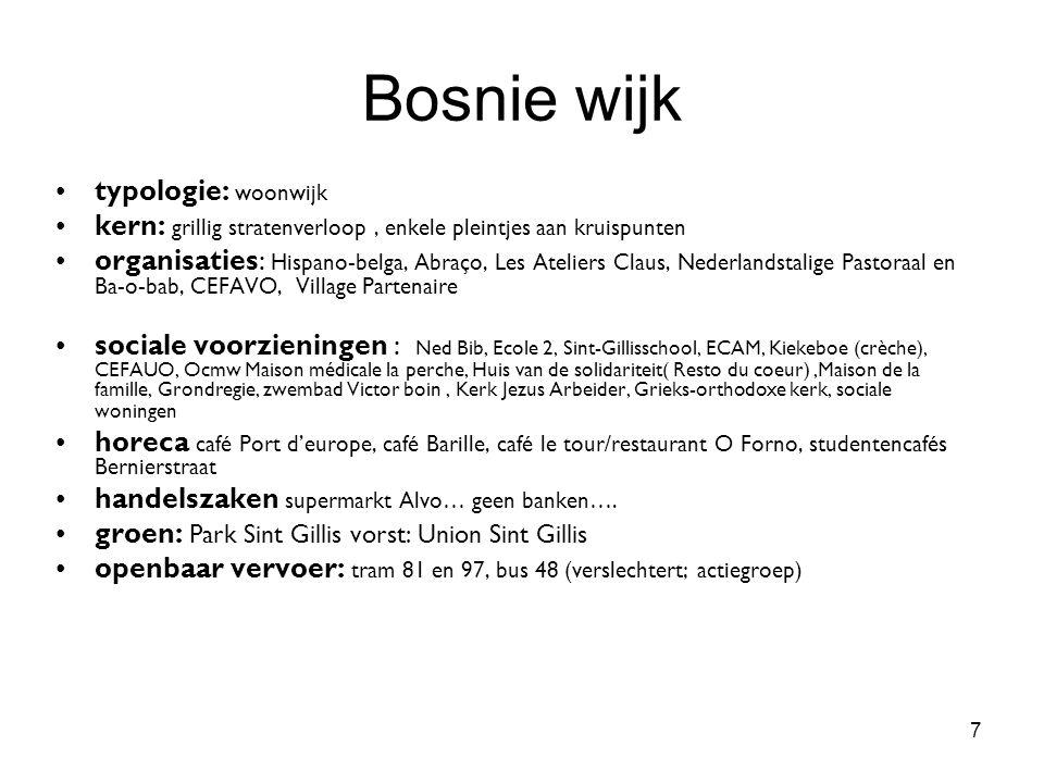 7 Bosnie wijk typologie: woonwijk kern: grillig stratenverloop, enkele pleintjes aan kruispunten organisaties: Hispano-belga, Abraço, Les Ateliers Cla