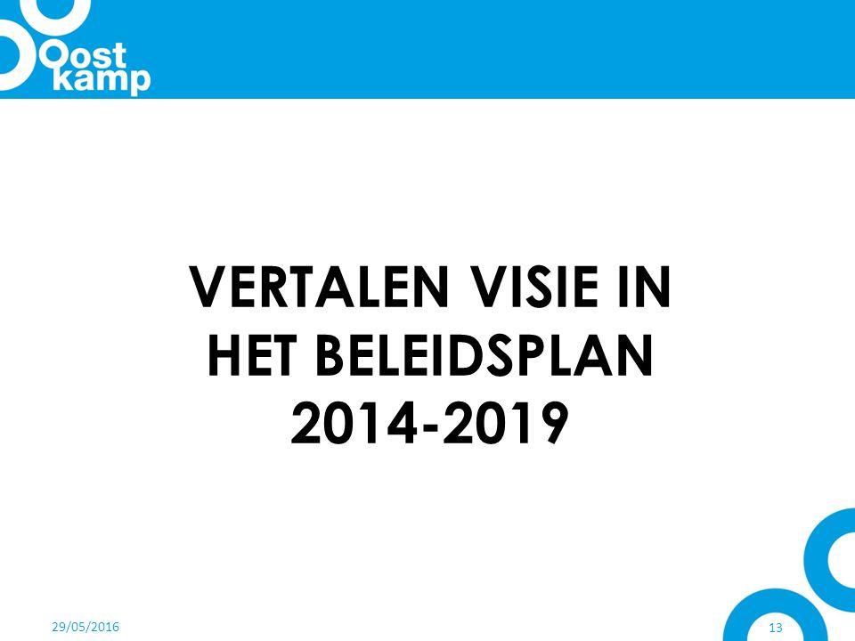 29/05/2016 13 VERTALEN VISIE IN HET BELEIDSPLAN 2014-2019