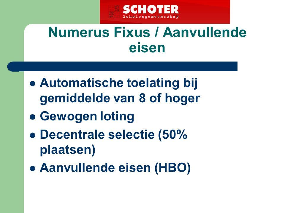 Numerus Fixus / Aanvullende eisen Automatische toelating bij gemiddelde van 8 of hoger Gewogen loting Decentrale selectie (50% plaatsen) Aanvullende eisen (HBO)