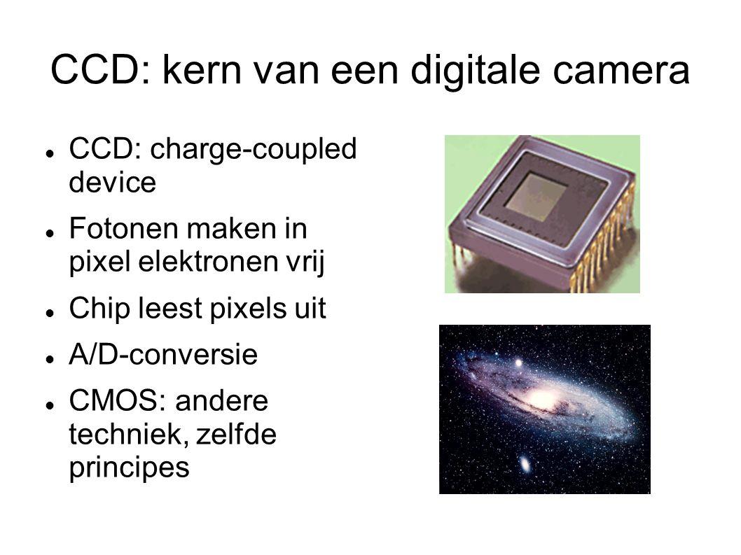 CCD: kern van een digitale camera CCD: charge-coupled device Fotonen maken in pixel elektronen vrij Chip leest pixels uit A/D-conversie CMOS: andere techniek, zelfde principes