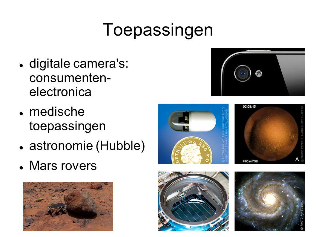 Toepassingen digitale camera s: consumenten- electronica medische toepassingen astronomie (Hubble) Mars rovers