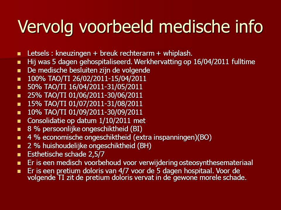 Vervolg voorbeeld medische info Letsels : kneuzingen + breuk rechterarm + whiplash.