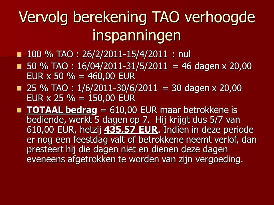 Vervolg berekening TAO verhoogde inspanningen 100 % TAO : 26/2/2011-15/4/2011 : nul 100 % TAO : 26/2/2011-15/4/2011 : nul 50 % TAO : 16/04/2011-31/5/2011 = 46 dagen x 20,00 EUR x 50 % = 460,00 EUR 50 % TAO : 16/04/2011-31/5/2011 = 46 dagen x 20,00 EUR x 50 % = 460,00 EUR 25 % TAO : 1/6/2011-30/6/2011 = 30 dagen x 20,00 EUR x 25 % = 150,00 EUR 25 % TAO : 1/6/2011-30/6/2011 = 30 dagen x 20,00 EUR x 25 % = 150,00 EUR TOTAAL bedrag = 610,00 EUR maar betrokkene is bediende, werkt 5 dagen op 7.