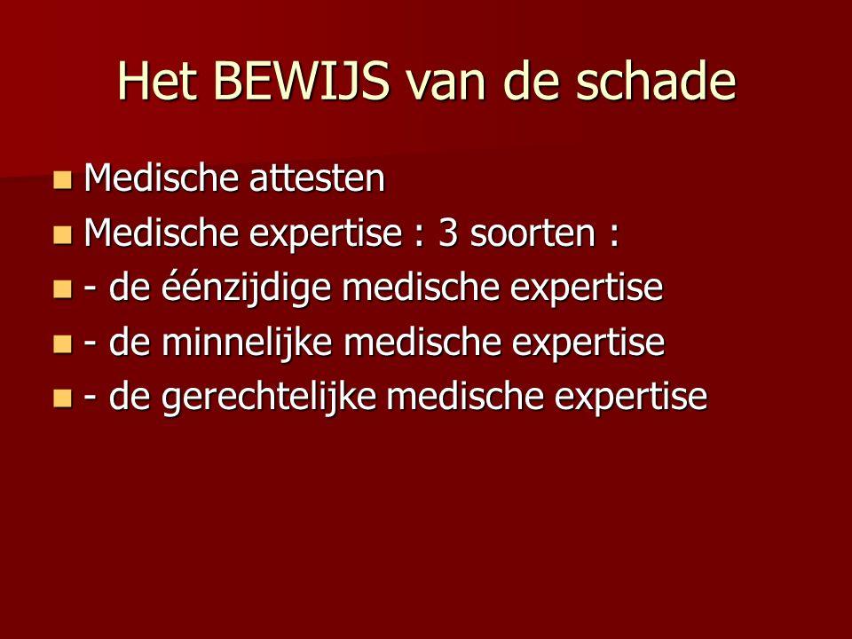 Het BEWIJS van de schade Medische attesten Medische attesten Medische expertise : 3 soorten : Medische expertise : 3 soorten : - de éénzijdige medische expertise - de éénzijdige medische expertise - de minnelijke medische expertise - de minnelijke medische expertise - de gerechtelijke medische expertise - de gerechtelijke medische expertise