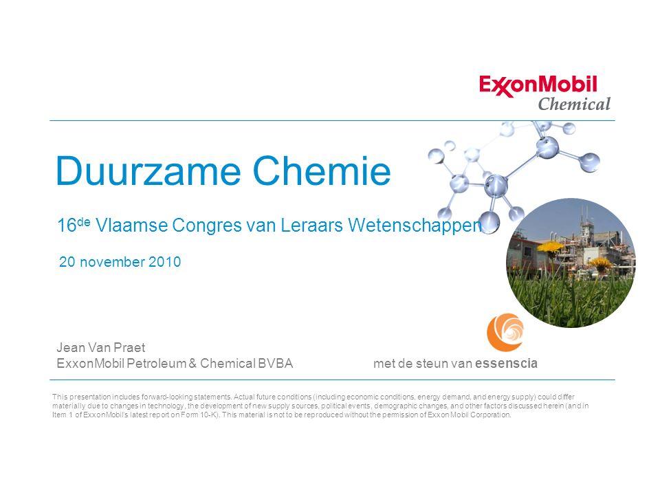 2 Agenda Kennismaking ExxonMobil Duurzame chemie Introductie Case studies: Verpakking Energy outlook, transport 3 Pijlers: Profit (Economie) People (Sociaal) Planet (Milieu) Conclusie Internationaal Jaar van de Chemie 2011