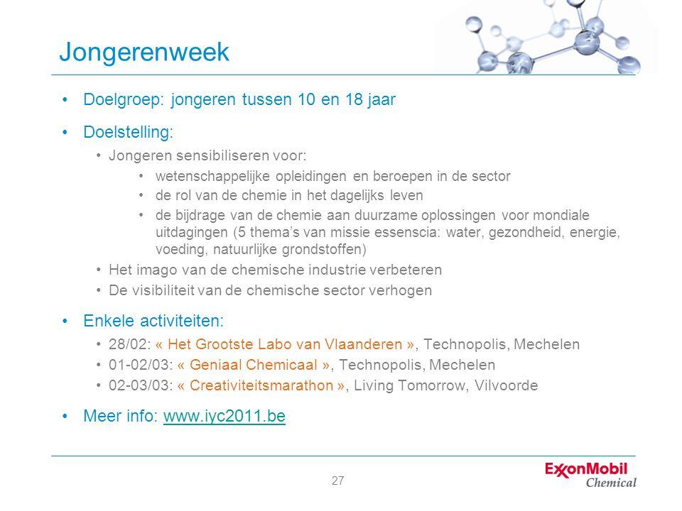 27 Jongerenweek Doelgroep: jongeren tussen 10 en 18 jaar Doelstelling: Jongeren sensibiliseren voor: wetenschappelijke opleidingen en beroepen in de s