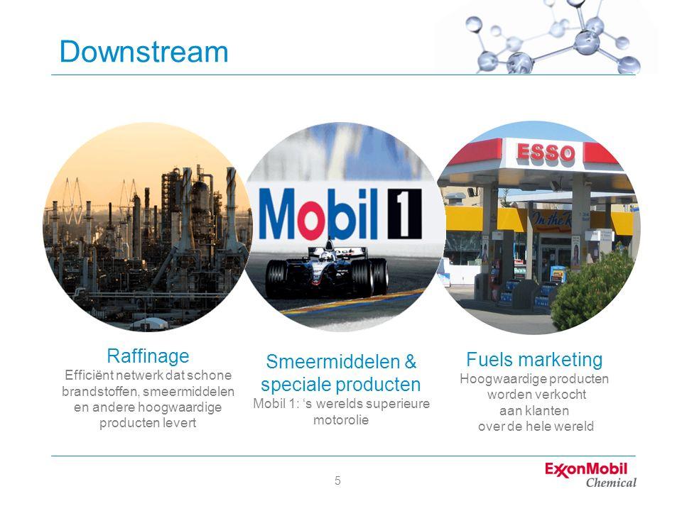 5 Downstream Raffinage Efficiënt netwerk dat schone brandstoffen, smeermiddelen en andere hoogwaardige producten levert Fuels marketing Hoogwaardige p