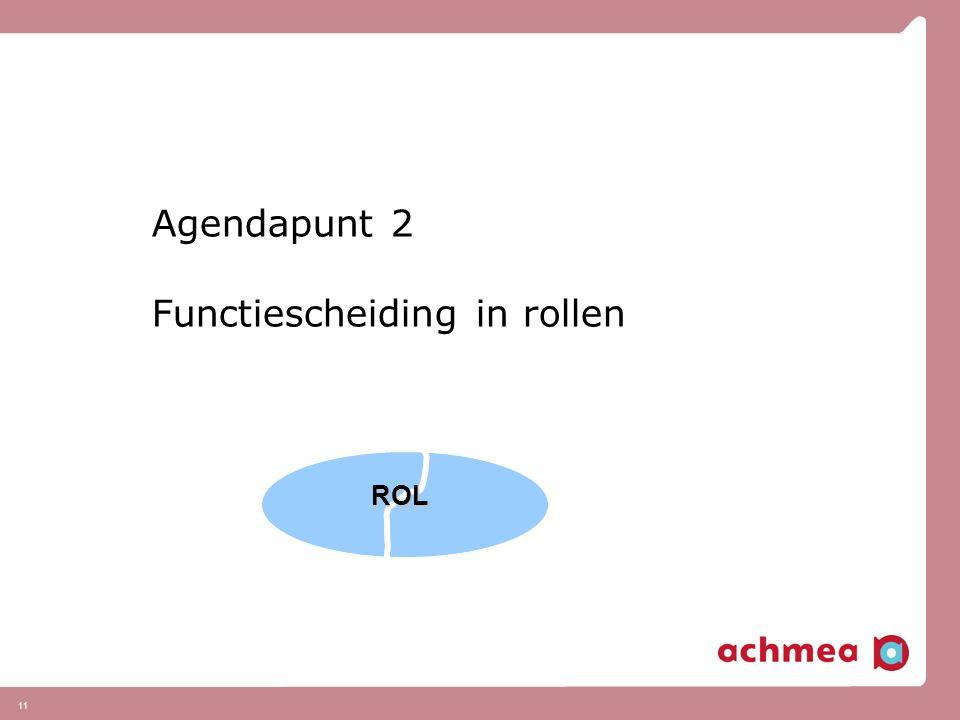11 Agendapunt 2 Functiescheiding in rollen ROL
