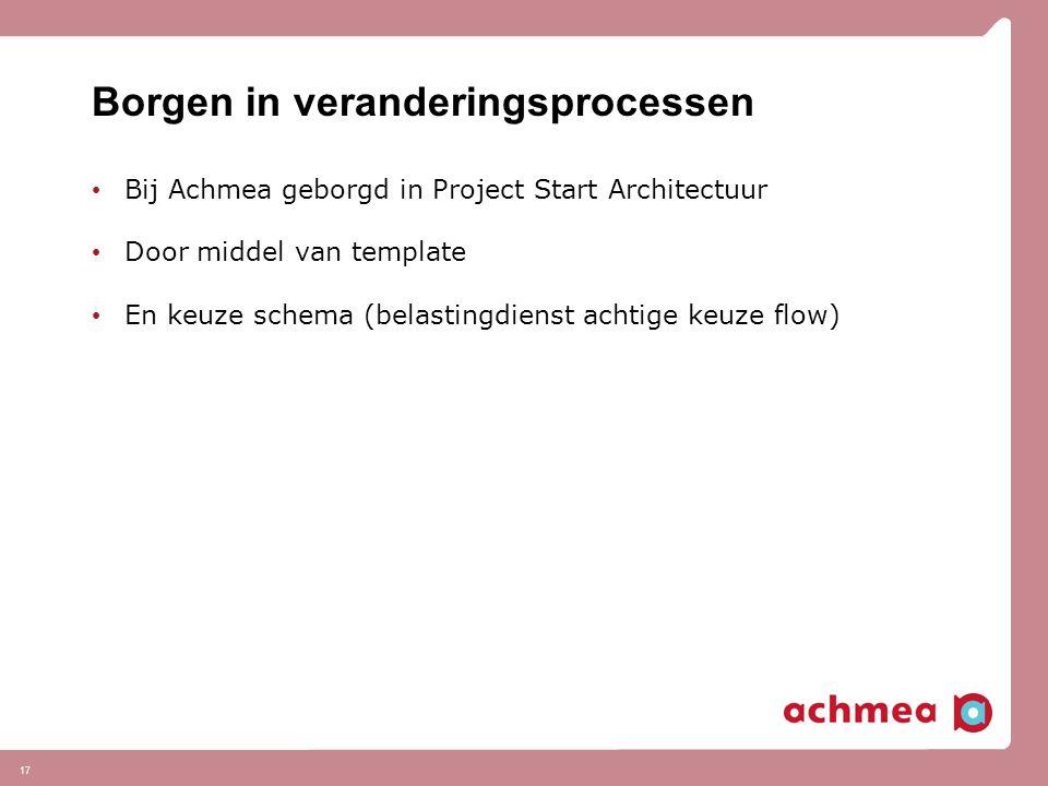17 Borgen in veranderingsprocessen Bij Achmea geborgd in Project Start Architectuur Door middel van template En keuze schema (belastingdienst achtige keuze flow)