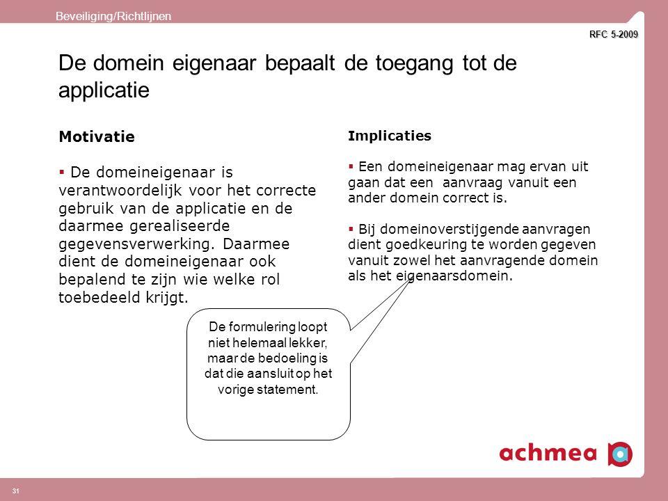 31 De domein eigenaar bepaalt de toegang tot de applicatie Motivatie  De domeineigenaar is verantwoordelijk voor het correcte gebruik van de applicatie en de daarmee gerealiseerde gegevensverwerking.