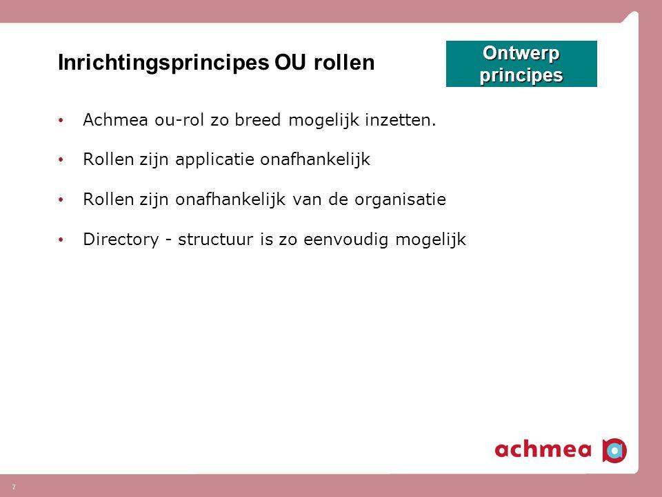 7 Inrichtingsprincipes OU rollen Achmea ou-rol zo breed mogelijk inzetten.