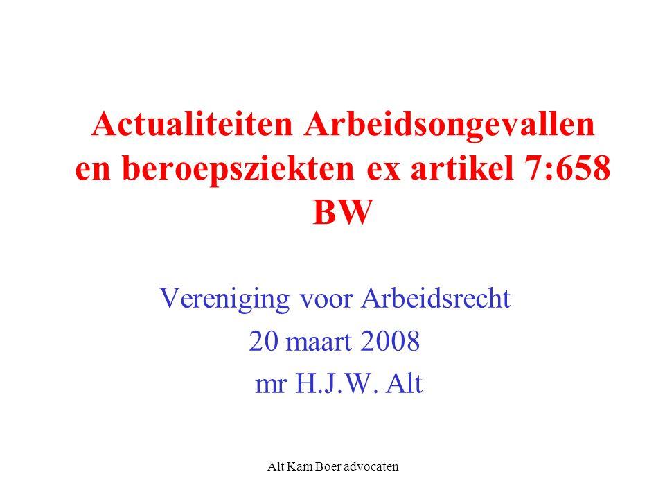 Alt Kam Boer advocaten Actualiteiten Arbeidsongevallen en beroepsziekten ex artikel 7:658 BW Vereniging voor Arbeidsrecht 20 maart 2008 mr H.J.W.
