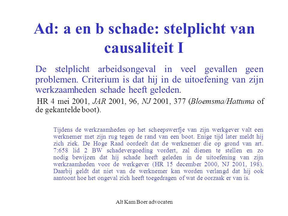 Alt Kam Boer advocaten Ad: a en b schade: stelplicht van causaliteit I De stelplicht arbeidsongeval in veel gevallen geen problemen. Criterium is dat