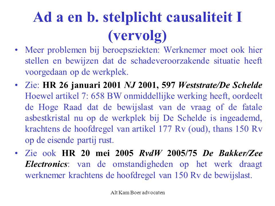 Alt Kam Boer advocaten Ad a en b. stelplicht causaliteit I (vervolg) Meer problemen bij beroepsziekten: Werknemer moet ook hier stellen en bewijzen da