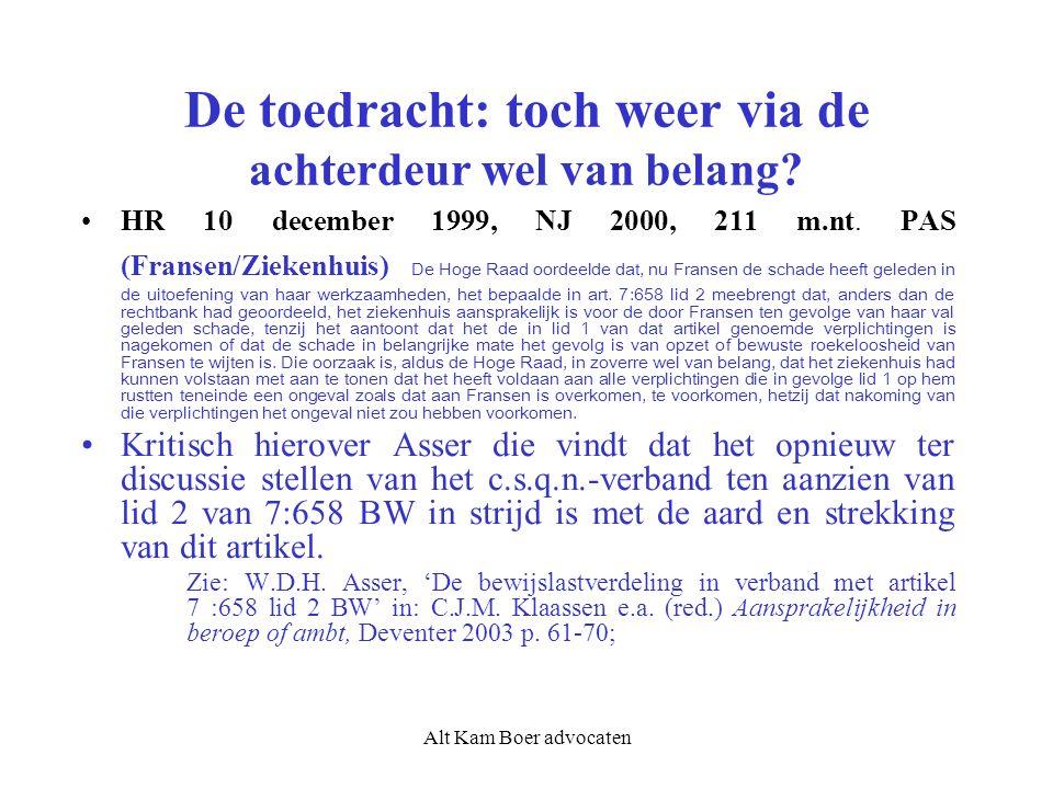 Alt Kam Boer advocaten De toedracht: toch weer via de achterdeur wel van belang? HR 10 december 1999, NJ 2000, 211 m.nt. PAS (Fransen/Ziekenhuis) De H