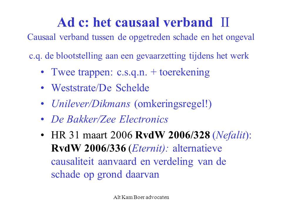 Alt Kam Boer advocaten Ad c: het causaal verband II Causaal verband tussen de opgetreden schade en het ongeval c.q. de blootstelling aan een gevaarzet