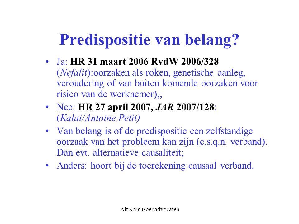 Alt Kam Boer advocaten Predispositie van belang? Ja: HR 31 maart 2006 RvdW 2006/328 (Nefalit):oorzaken als roken, genetische aanleg, veroudering of va