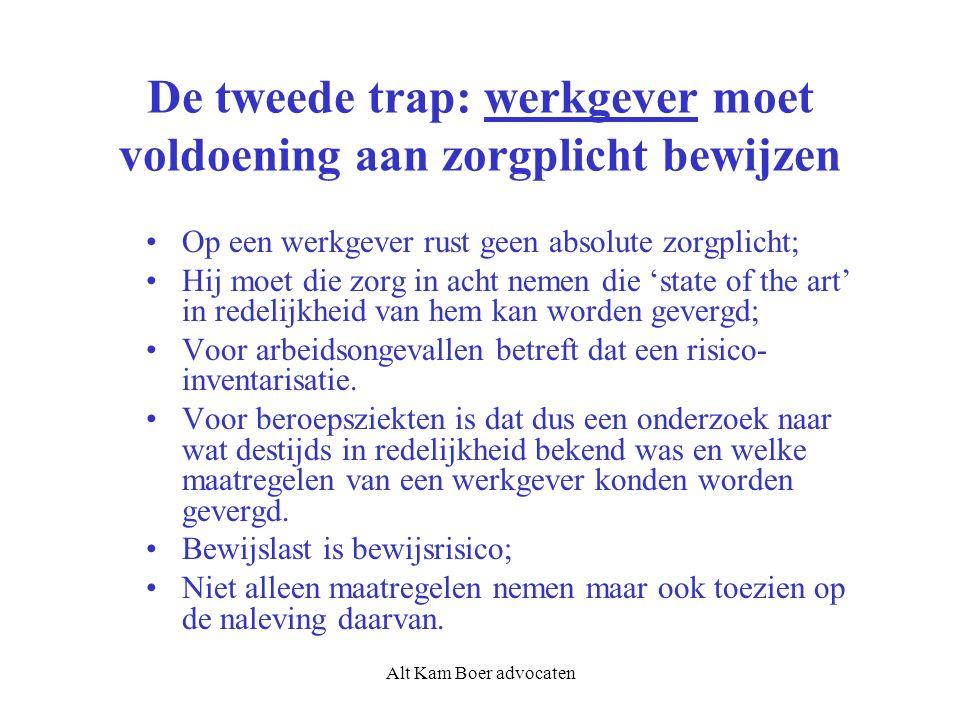 Alt Kam Boer advocaten De tweede trap: werkgever moet voldoening aan zorgplicht bewijzen Op een werkgever rust geen absolute zorgplicht; Hij moet die