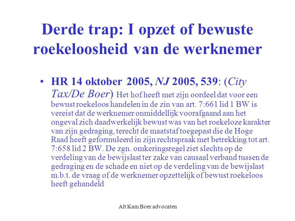 Alt Kam Boer advocaten Derde trap: I opzet of bewuste roekeloosheid van de werknemer HR 14 oktober 2005, NJ 2005, 539: (City Tax/De Boer) Het hof heeft met zijn oordeel dat voor een bewust roekeloos handelen in de zin van art.