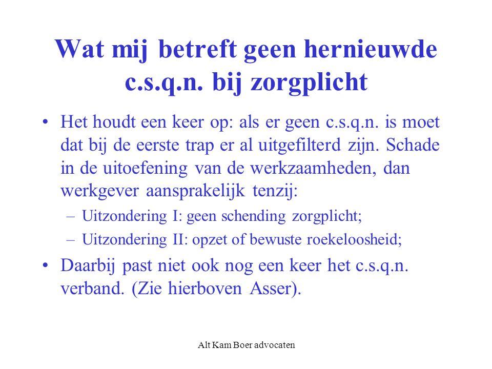Alt Kam Boer advocaten Wat mij betreft geen hernieuwde c.s.q.n.