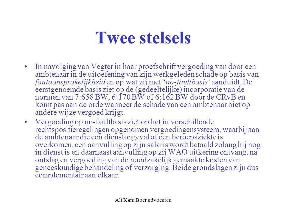 Alt Kam Boer advocaten Twee stelsels In navolging van Vegter in haar proefschrift vergoeding van door een ambtenaar in de uitoefening van zijn werkgeleden schade op basis van foutaansprakelijkheid en op wat zij met 'no-faultbasis' aanduidt.