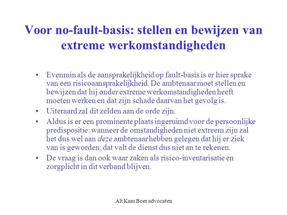 Alt Kam Boer advocaten Voor no-fault-basis: stellen en bewijzen van extreme werkomstandigheden Evenmin als de aansprakelijkheid op fault-basis is er hier sprake van een risicoaansprakelijkheid.