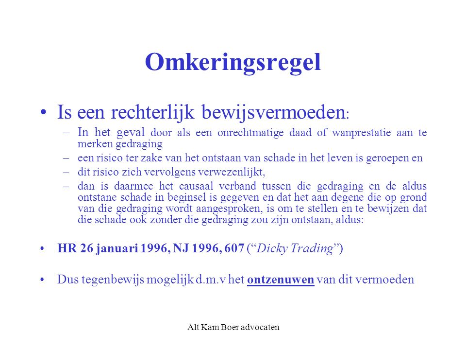 Alt Kam Boer advocaten De toedracht: toch weer via de achterdeur wel van belang.