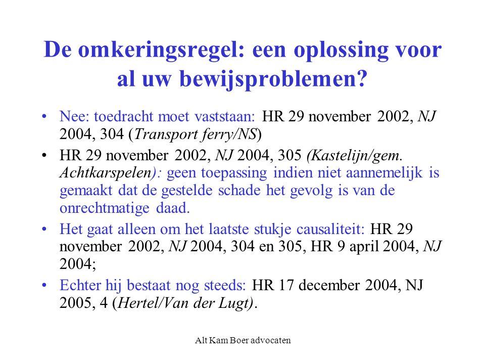 Alt Kam Boer advocaten De omkeringsregel: een oplossing voor al uw bewijsproblemen? Nee: toedracht moet vaststaan: HR 29 november 2002, NJ 2004, 304 (