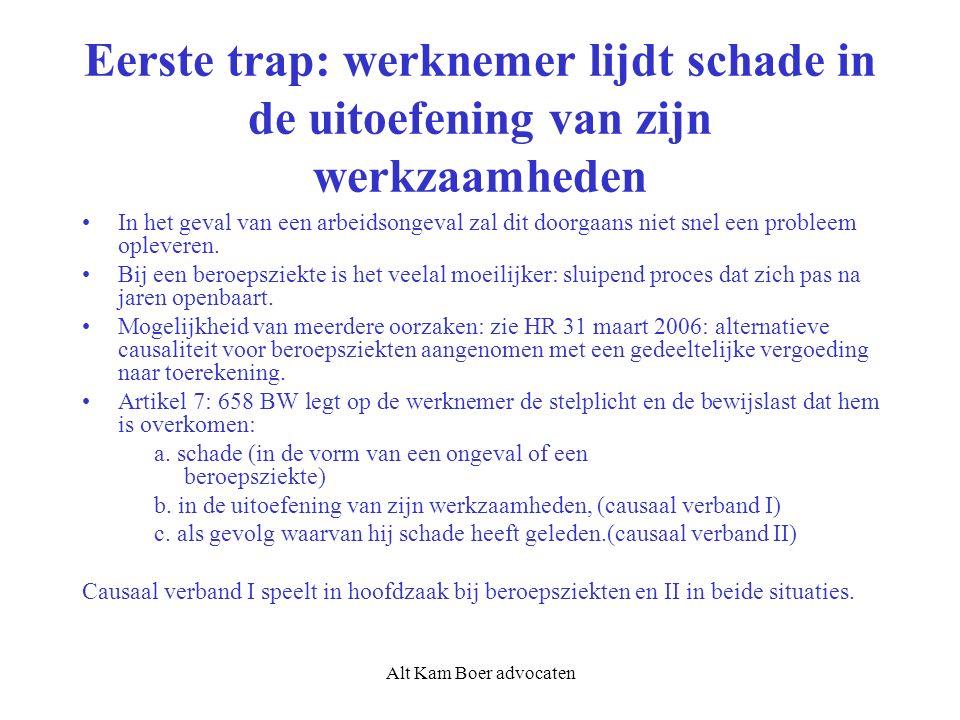 Alt Kam Boer advocaten Eerste trap: werknemer lijdt schade in de uitoefening van zijn werkzaamheden In het geval van een arbeidsongeval zal dit doorga
