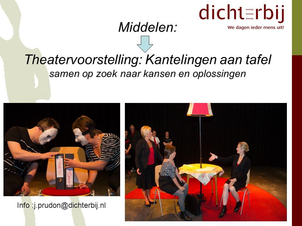 Middelen: Theatervoorstelling: Kantelingen aan tafel samen op zoek naar kansen en oplossingen Info :j.prudon@dichterbij.nl