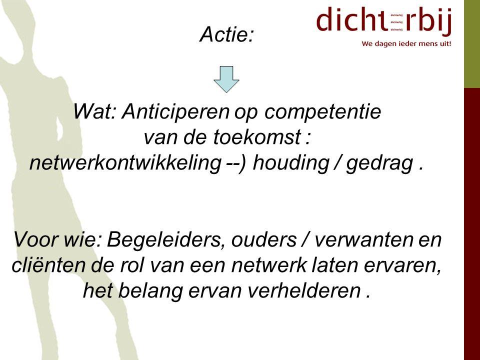 Actie: Wat: Anticiperen op competentie van de toekomst : netwerkontwikkeling --) houding / gedrag.